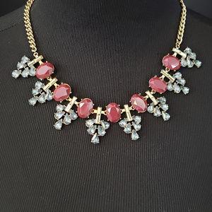 LOFT, Burgundy/Dark Red & Blue stone necklace